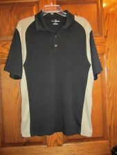 Grand Slam Polo Short Sleeve Black & Tan Golf Shirt Size L Mens Nice!