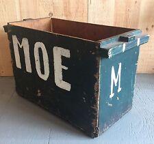Vintage Hand Painted MOE Wooden Crate Machine Sop Carpenter Box Folk Art