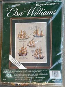RARE Vintage Elsa Williams Historic Voyagers Cross Stitch Kit Ships Sealed