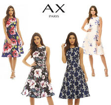AX Paris Womens Floral Printed Midi Skater Dress, Ladies Casual Wear