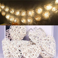 10 Rattan Heart String Fairy Lights Warm White Lamp Party Home Bedroom Decor