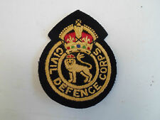 Good Embroidered Civil Defence Corps Patch Badge Kings Crown ~ Re-enactment Prop