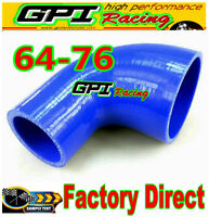 "2.5""-3"" INCH 90° DEGREE 63mm-76 mm TURBO SILICONE ELBOW COUPLER HOSE PIPE BLUE"