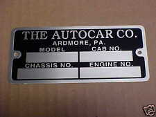 Autocar Truck Vintage acid etched Data Plate