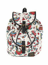 NWT Hello Kitty Tattoo White Canvas & Faux Leather Slouch Backpack Sanrio