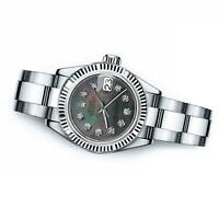 Ladies Rolex 26mm Datejust Black MOP Mother Of Pearl Dial with Diamond Accent