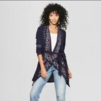 Women's Long Sleeve Embroidered Waffle Cardigan - Knox Rose™ Navy XXL