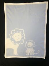 Pottery Barn Kids Blue White Lion Sweater Knit Baby Blanket Security