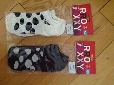 NEW ROXY BLACK OR CREAM 3 PACK TRAINER SOCKS SIZES 2 - 10  (35-43) RETAIL £18.99