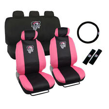 New Pink Lady Skull Front & Back Car Seat Cover Steering Wheel Cover Full Set