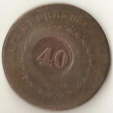 1831 Brazil 40 Reis, Counter-stamped Coin (s22)