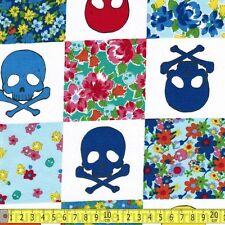 Japan Import Fabric Quilt Skulls Blue PER METRE Patchwork Pirates Bones Floral G