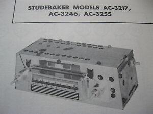 1962 STUDEBAKER LARK & HAWK AC-3217, AC-3246 & AC-3255 RADIO PHOTOFACT