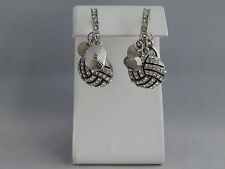 Volleyball Charm Hoop Earrings - Crystals Sports Mom Fashion Jewelry