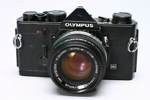 OLYMPUS OM-1N BLACK 35MM FILM SLR CAMERA + ZUIKO 50MM F/1.8 LENS - NO METER #1