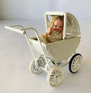 Victorian Style Mini Doll in Lace Dress (Italy) + Baby Buggy Dollhouse Accessory