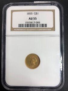 US Mint 1855 Liberty Head Type 1 Gold $1 NGC AU 55