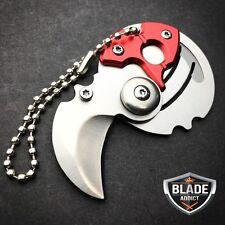 EDC FOLDING COIN KNIFE MINI HOOK SELF DEFENSE POCKET KNIFE w/ KEYCHAIN RED