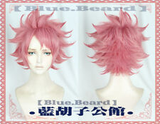 Anime Fairy Tail Natsu Unisex Cosplay Pink Short Hair Wig Hairpiece