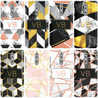 DYEFOR PERSONALISED GEOMETRIC MARBLE INITIALS PHONE CASE COVER FOR NOKIA