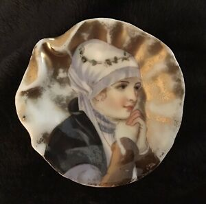 Antique German Heubach Portrait Painting Oyster Shaped Butter Pat