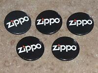 """ZIPPO LIGHTER LOGO lot of 5 PINBACK BUTTON METAL 1"""" PIN round PROMO ADVERTISING"""
