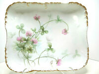Lovely Antique H & Co,France (Limoges) 1888-1896 Porcelain Tray Clover Blooms