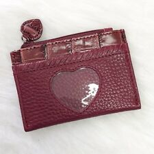 Brighton Women's ID Case Coin Pouch Burgundy Red Leather Photo Holder Card Slot