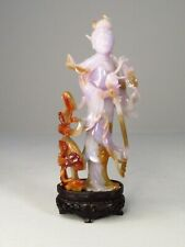 "Carved Purple Chinese Jade Figure of Warrior with Swords 6"" Lavender Hardstone"