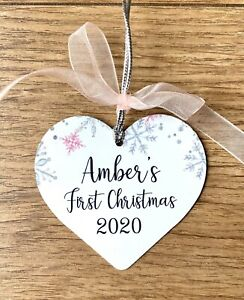 Personalised Baby's First Christmas Bauble Pretty Heart Shape Metal Baby Girl