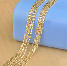 1PCS 30inch 18K Yellow Gold Filled Flat Curb S Chain Necklaces Wholesale