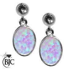 Lab-Created Oval Sterling Silver Fine Earrings