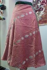 femmes bande rouge indien recyclé Sari enroulé Jupe longueur mollet (sb-wrp-8)