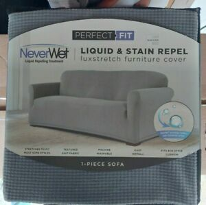 Perfect Fit  Never Wet Luxury Sofa Slipcover - Gray GallyHo