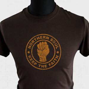 Northern Soul Keep The Faith T Shirt Retro Music Dance Cool North Brown