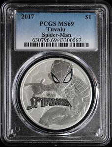 2017 Tuvalu Spider-Man 1 oz Silver Dollar Coin PCGS MS 69 | Marvel Avengers