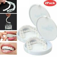 2PCS Smile Snap On Upper False Teeth Dental Veneers Dentures Tooth Cover White