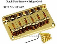 "NEW Gotoh Non-Tremolo hardtail Guitar Bridge 2 1/16"" Spacing 6 String - GOLD"
