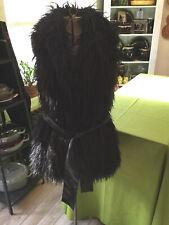 INC Brand Womens Size L Faux Mongolian Shaggy Fur Black Tie Long Vest