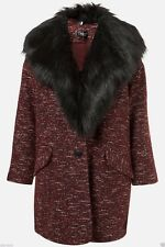 Topshop Burgundy Boucle Tweed Luxurious Faux Fur Collar Jacket Coat - Size 6