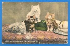 POLLY PUT THE KETTLE ON,LETS HAVE TEA.TUCKS POSTCARD OF CATS