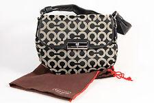 Authentic Coach Kristin Signature Op Art Shoulder Bag Purse Black Gray Dust Bag