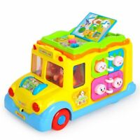 Early Education 1 Years old Baby Toy Intellectual School Bus Light/ Music Kids