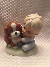 Vintage Porcelain Homco Figurine Toddler Baby Little Boy & Puppy Dog # 1424