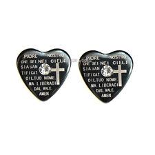 coppia orecchini acciaio uomo donna unisex cuore bibbia K49