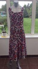 New Ladies Tall Animal Pattern Shift Dress Midi Summer Lined Chiffon UK 10 BO22