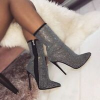 WOmen's High Heels Stilettos Pointed toe Zip Side Ankle Boots Rhinestone Shoes