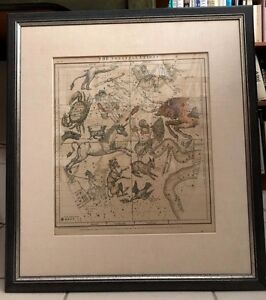 ANTIQUE ENGRAVED MAP OF CONSTELLATIONS CIRCA 1860