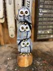 OWL FAMILY Chainsaw Carving CHERRY Wood 3 OWL TOTEM Pole ORIGINAL Folk Artwork