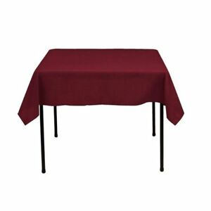Square Tablecloth - 60 x 60 Inch - Burgundy Square Table Cloth for Square